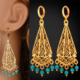 Bohemian Turquoise Tassel Long Earrings 18K Real Gold Platinum Plated Summer Jewelry Romantic Gift For Women MGC E1157