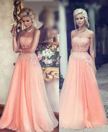 Pink Spring Evening Dresses 2016 Strapless A line Appliques Sheer Waist Part Sweep Train Tulle Party Prom Gowns Custom made