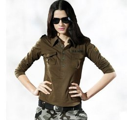 Autumn Spring Turn Down Collar Long Sleeve Outdoor T Shirt Women Cotton Elastic Camouflage Military Army T Shirt Woman