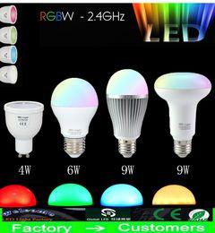 2015 NEW2.4G RF Wireless E27 GU10 RGBW RGB+COOL WHITE RGB WW RGB+WARM WHITE 4W 6W 9W PAR30 85-265VLED Light Dimmable Bulb Lamp free shipping