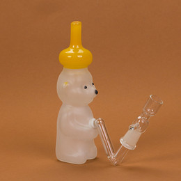 Wholesale 7 quot Honey Bear Glass Pipe Glass Water Pipe CM Glass Bear Smoking Pipe Perc Glass Bong MM Joint WP048