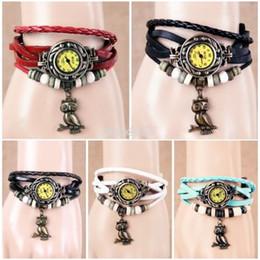 Wholesale Vine Multi Color Owl Quartz Watch Girls Leather Watches Bracelet Pendant Item Hours Wooden Bead Bracelet Clock Rome Punk Wristwatches