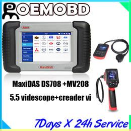 Wholesale Autel MaxiDas DS708 Automotive Diagnostic Analysis System OBD EOBD Scanner multi language with MV208 videscope and creader vi code reade