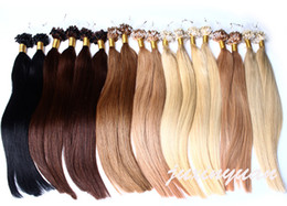 "Wholesale- 14"" - 24"" 1g s 100g lot 100s lot Micro Loop Hair Extensions 1# 1B# 2# 4# 6# 27# 99J# 27# 613# dhl free shpping"