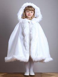 New Arrival Warm Hooded Children's White Satin Flower Girl Wedding Cloak With Faux Fur Trim Tea-Length Winter Kid Long Wraps Jacket
