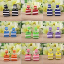 Wholesale Europe and the United States sided stripe size box boxed sided bead earrings earrings jewelry