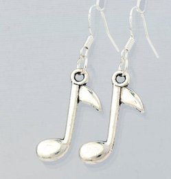 Wholesale 2016 HOT Antique Silver Eighth Note Music Note Earrings Silver Fish Ear Hook Chandelier E238 x14 mm