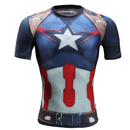 Wholesale Marvel Superhero Deadpool Punisher Captain America T shirt Men Armour Short Sleeve Costume Gym Sport Fitness tshirt homme