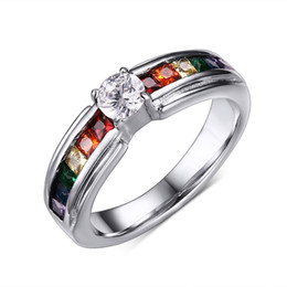 Wholesale-Men and Women Rainbow Ring the Zircon Austrian Crystal Rainbow Gay Pride Ring Fine Jewelry