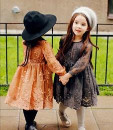 Wholesale Korean Clothing Crochet - Autumn Kids Girls Crochet Lace Dresses Baby Girl Princess Long Sleeve Dress Girl Korean Style Mesh Dress 2016 Children's clothing