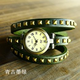Wholesale-Free shipping wholesale dropship top sale 3 ring punk watch women leather brand