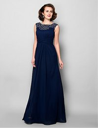 Wholesale 2016 Autumn Winter Sleeveless Chiffon Mother of bride Dresses Jewel Floor Length A Line Beads Plus Size Mother Prom Gowns Mother s Dresses