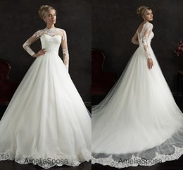 Ball Gown Wedding Dresses Exquisite Cap Sleeve Hollow Tulle with Lace Beaded Long Sleeves Bridal Dresses
