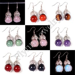 Charm Red Agate Onyx Aventurine etc Round Bead Natural Stone Owl Drop Earrings Accessories Silver Plated Jewelry 8Pairs lot Mix Order