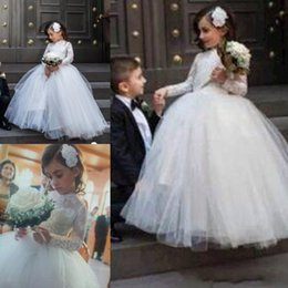 2015 Fall Winter Flower Girls Dresses Jewel Long Sleeve Ball Gown Wedding Party Kids Formal Wear Custom made