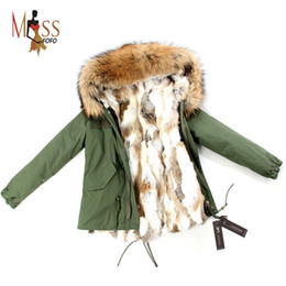 Wholesale-2015 Fashion women's army green Large raccoon fur collar hooded coat parkas outwear detachable rabbit fur lining winter jacket