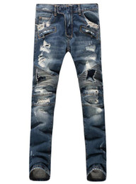 NEW sales US style TOP Mens Jeans tide male printing jeans men painted red flags significantly thin stretch pants