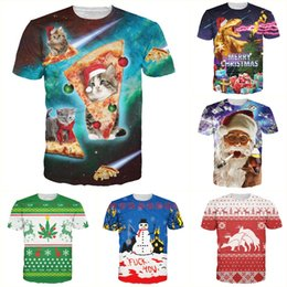 Wholesale-Alisister new fashion cat pizza Santasaurus T-Shirt print 3d women men graphic t shirt funny Christmas clothing harajuku t shirt
