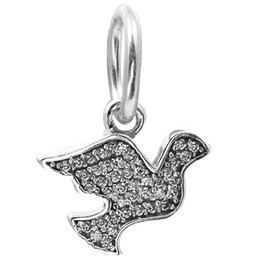 100% 925 Sterling Silver Beads Fit Pandora Charms Bracelet DIY Brand Fashion Jewelry Dangle Dove Symbol of Hope with Clear CZ