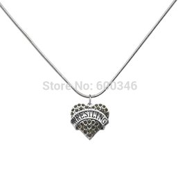High School Heart Crystal Wrestling Necklaces Jewelry For Men Unique Design