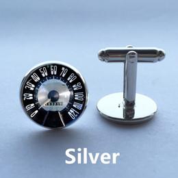 1 pair Free Shipping Glass Cufflinks Speedometer Cufflinks Retro Vintage Car Speedtest cuff link sliver black round cufflinks 14