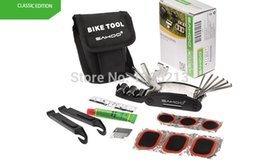 Wholesale Multifunction tool Sets for Bike Bicycle Tyre Repair Multi Tool Set Kits Cycling Repairing Tools with Tool Bag Black