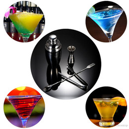 Wholesale 4PCS Practical Stainless Steel Cocktail Shaker Mixer Set with Jigger Ice Tong Drink Bartender Kit Bar Tool H16559