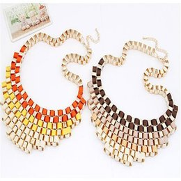 Wholesale 6 Colors Bohemian Gradient Color Necklace Metal Gothic Choker Necklace for Women Temperament Retro Exaggerated Short Necklace Pendants