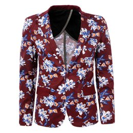 Mens Floral Blazer Jacket Single Button Long Sleeve Fashion Men Brand-clothing Slim Fit Blazer