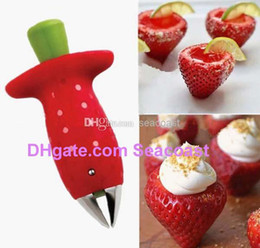 Free Shipping 100pcs lot NEW Strawberry Stem Leaf Leaves Huller Remover Removal Fruit Corer Tool Kitchen Gadgets Cutter Red Color