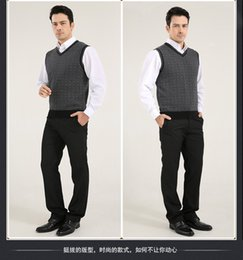 Fall-waistcoat Sweaters sleeveless V Neck thickening Middle aged 2015 New Fashion 100% cotton vest,man wool vest sweater