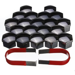 Wholesale 20pcs mm Universal Car Plastic Caps Bolts Head Covers Nuts Alloy Wheel Matt Black KEY