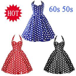 Wholesale-Summer Style Retro Audrey Hepburn Vestidos Woman Vintage 60s 50s Dress Big Swing Polka Dot Backless Rockabilly Dress Plus Size