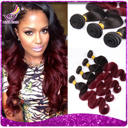 Wholesale Irina Beauty Hair b burgundy Ombre Brazilian hair two tone Body Wave Hair Weaves full bundles inch ombre Human Hair Extensions