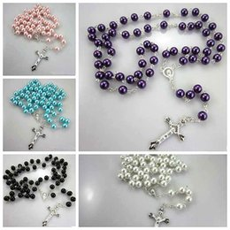 Wholesale 2015 Fashion Pearl Rosary Necklace Pendant Christian Long Cross Necklaces Pendants Women Girls Jewelry