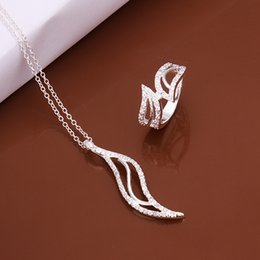 High grade 925 sterling silver Willow insets Set jewelry sets DFMSS504 brand new Factory direct sale wedding 925 silver necklace ring