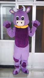 Wholesale Real Pictures Deluxe Purple Cow mascot costume feet