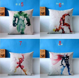 Wholesale Superhero Avengers cushion case ink water colored superman catwomen spiderman Cushion Cases linen Pillow Cover Home Textiles Decor gift