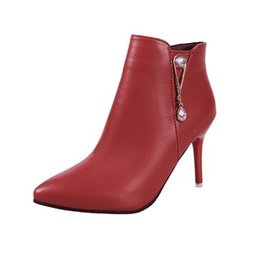 Fashion Women Shoes Pointed rough with high heels side zipper rhinestone boots 2017 winter new boots shoes waterproof 35-39