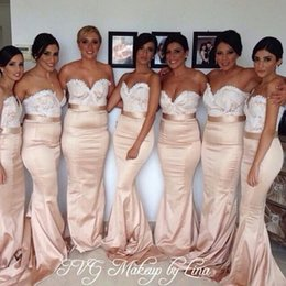 Promotion Champagne Gold Bridesmaid Dresses Long Floor Sweetheart Appliqués Mermaid Bridesmaids Formal Dress Plus Size Bridemaids Gowns