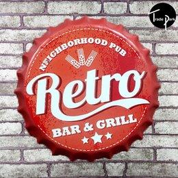 Wholesale 35 cm Round neighborhood pub retro bar grill Bottle cap Retro Tin Sign for the Pub Bar Garage