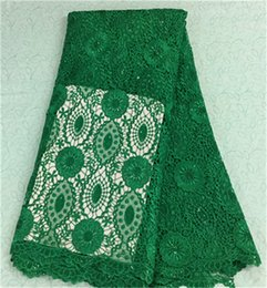 Latest green flower water soluble lace embroidery african guipure lace fabric with sequins for party BW18-8,5yards pc