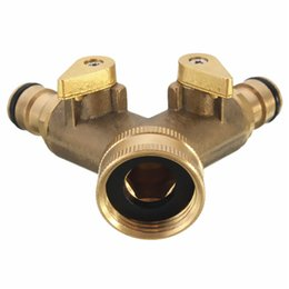 Wholesale New Arrival pc Two General Copper Ball Valve Garden Double Brass Independent switch Watering order lt no track