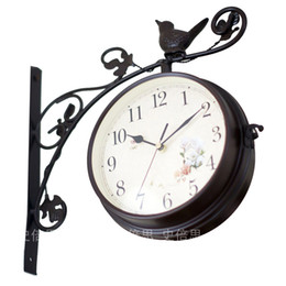 Wholesale Double sided metal clocks Metal big wall clock iron watch home garden clock wrought arts home clocks