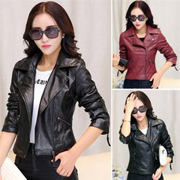 Wholesale New Arrivals Women Lady Leather Jacket Outerwear Coats PU Korean Short Slim Fashion Colors Sizes S XL DX261