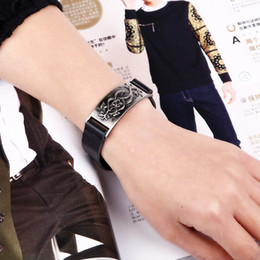 2017 décor de zinc -Europe de gros trendy decor plaque véritable zinc en cuir alliage métallique gratuits bracelets de taille, bracelets de style vintage vachette pour hommes, femmes décor de zinc sur la vente