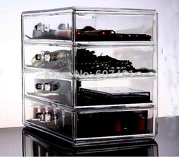 Wholesale-Heavy-duty Clear Acrylic Cosmetic & Makeup Organizer with 4 Drawers & Flip Top for jewelry,cosmetic etc