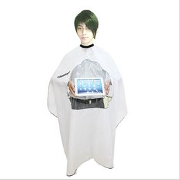 100pcs lot New Hairdressing Capes Hair Cutting Gown Barbers Cape Wrap Transparent Design Can see mobile phone can make your one color logo