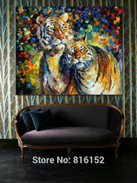 Sweet Tiger Family Modern Palette Knife Oil Painting Animal Picture Printed On Canvas for Home Living Bedroom Wall Decor