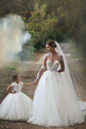 White Long Sleeve Princess Wedding Dresses Floor Length Ball Gown Hand Made Flowers Sheer Neck Grace Bridal Gowns